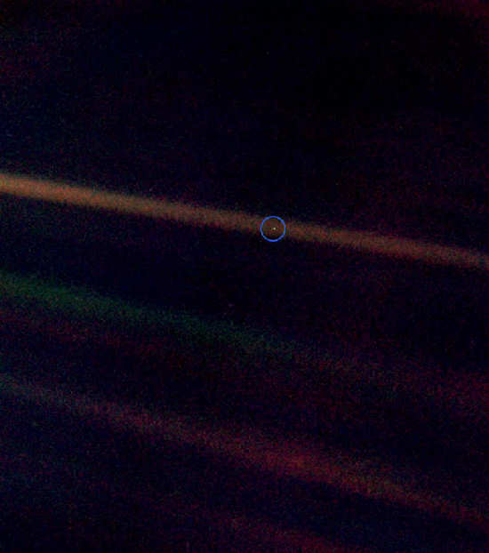 'Pale Blue Dot': Earth from about 6.5 billion kilometres (4 billion miles) away.